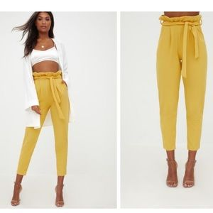 Pretty little thing yellow mustard paperbag pants